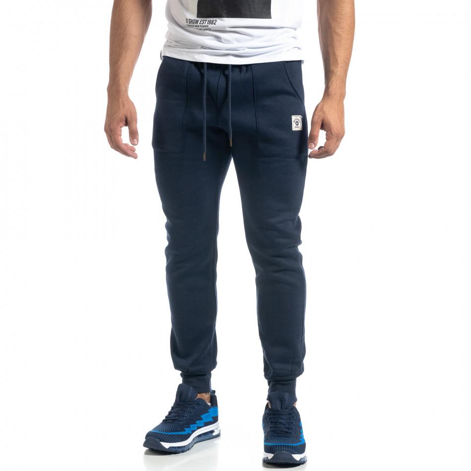 Мъжко синьо долнище с апликирани джобове it041019-14