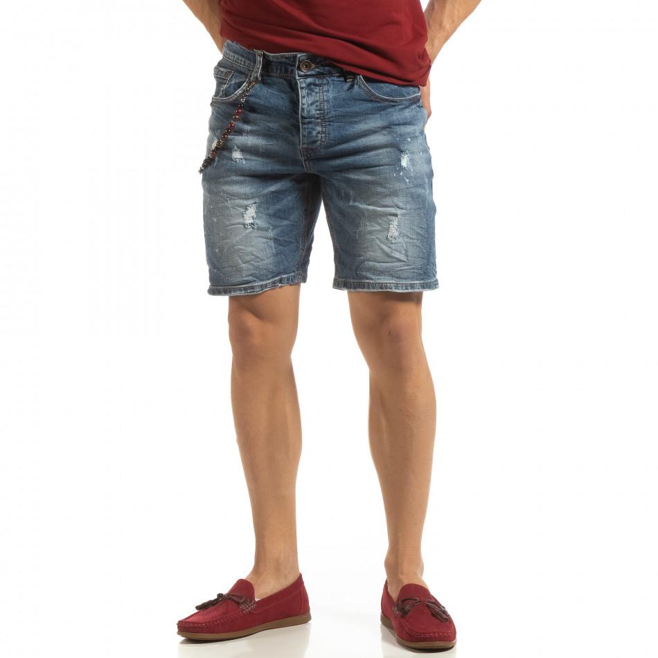 Прокъсани мъжки къси дънки с броеница it090519-43