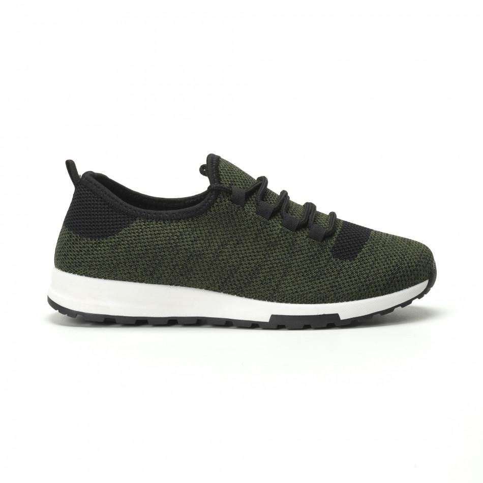 Леки текстилни мъжки маратонки в зелен меланж it250119-13