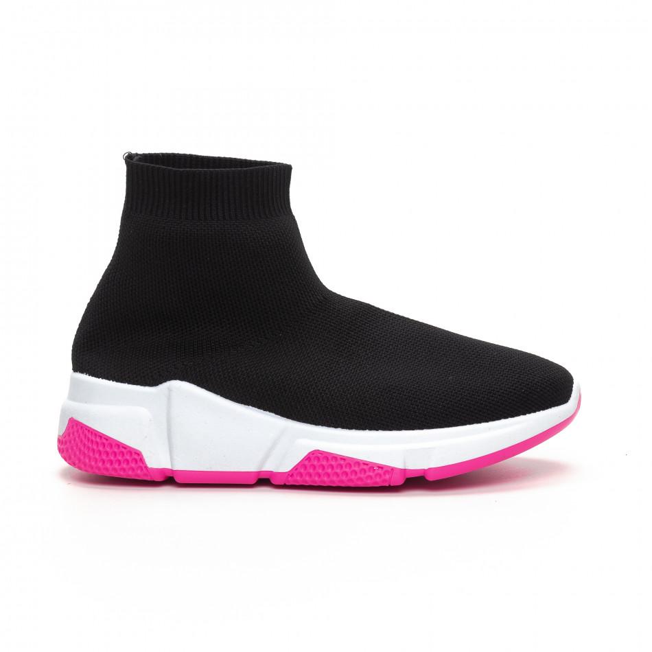 Черни дамски маратонки тип чорап Chunky подметка it240419-57