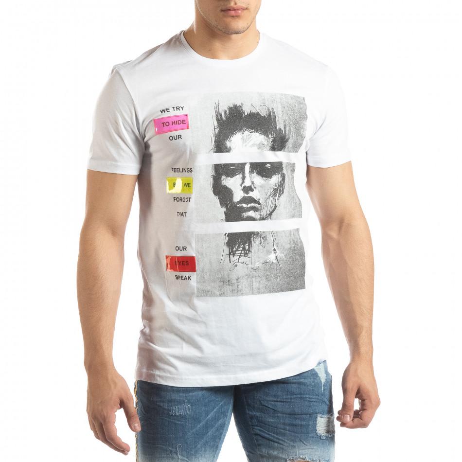 Мъжка бяла тениска с неонови апликации it150419-68