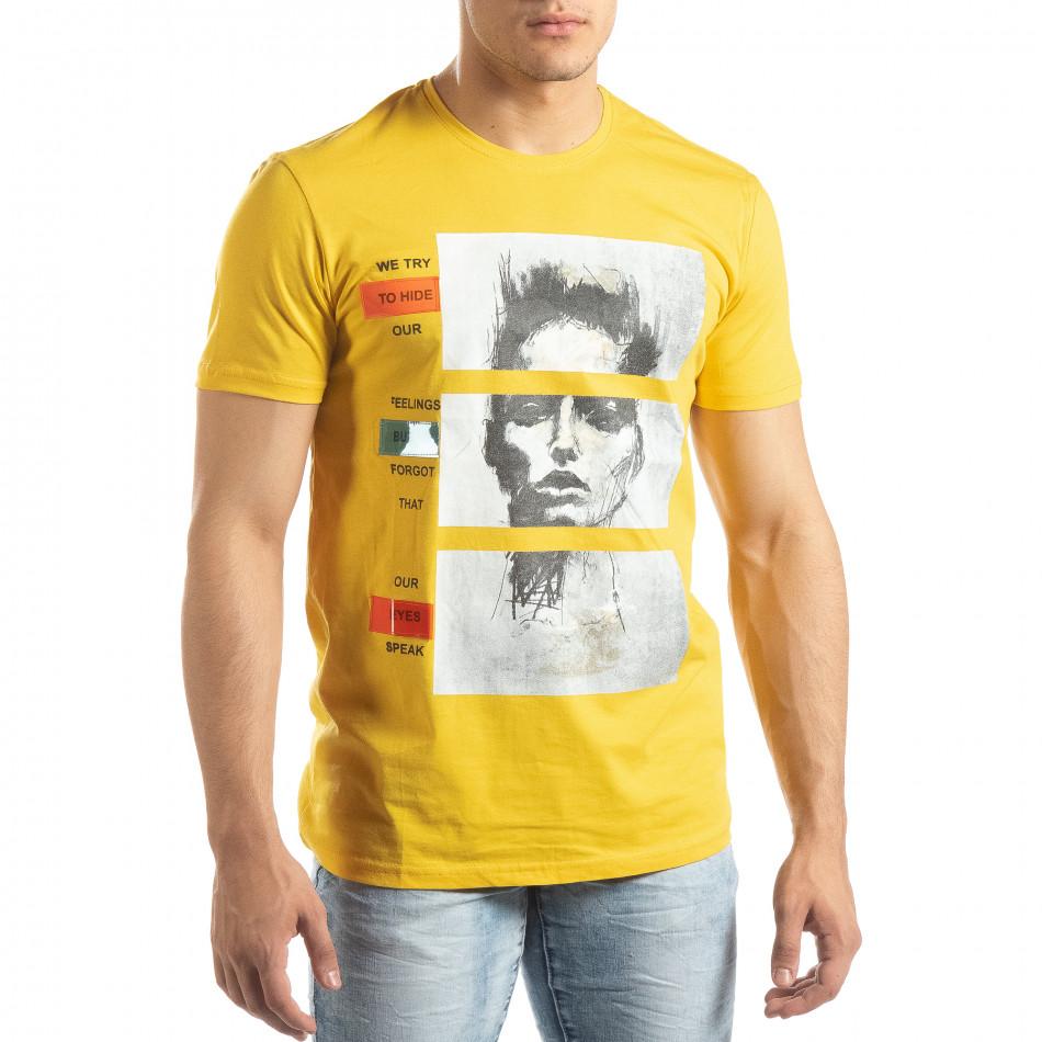 Мъжка жълта тениска с неонови апликации it150419-67