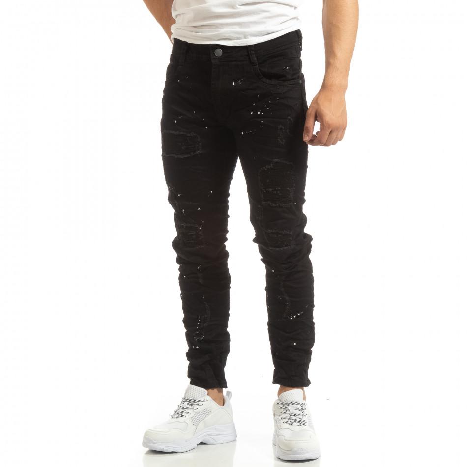Скъсани мъжки черни дънки с пръски боя it090519-3
