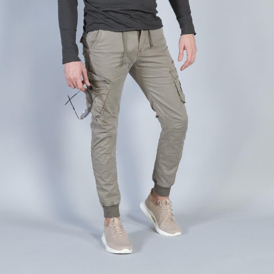 Мъжки Cargo Jogger панталон в сиво-бежово it040219-29