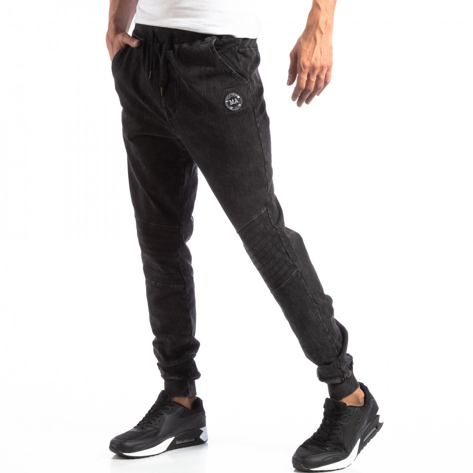 Мъжки Biker Jogger в цвят черен деним it250918-43