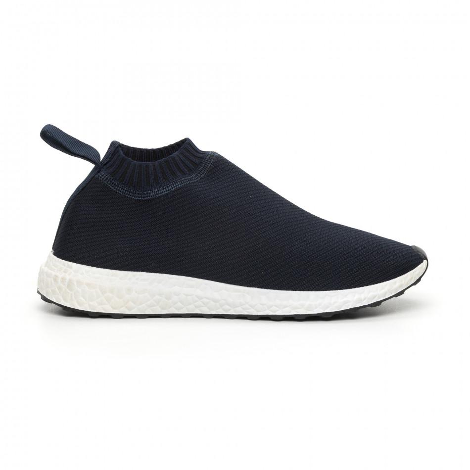 Мъжки slip-on маратонки тип чорап в синьо it130819-2