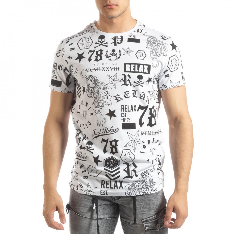 Мъжка бяла тениска със символи it150419-71