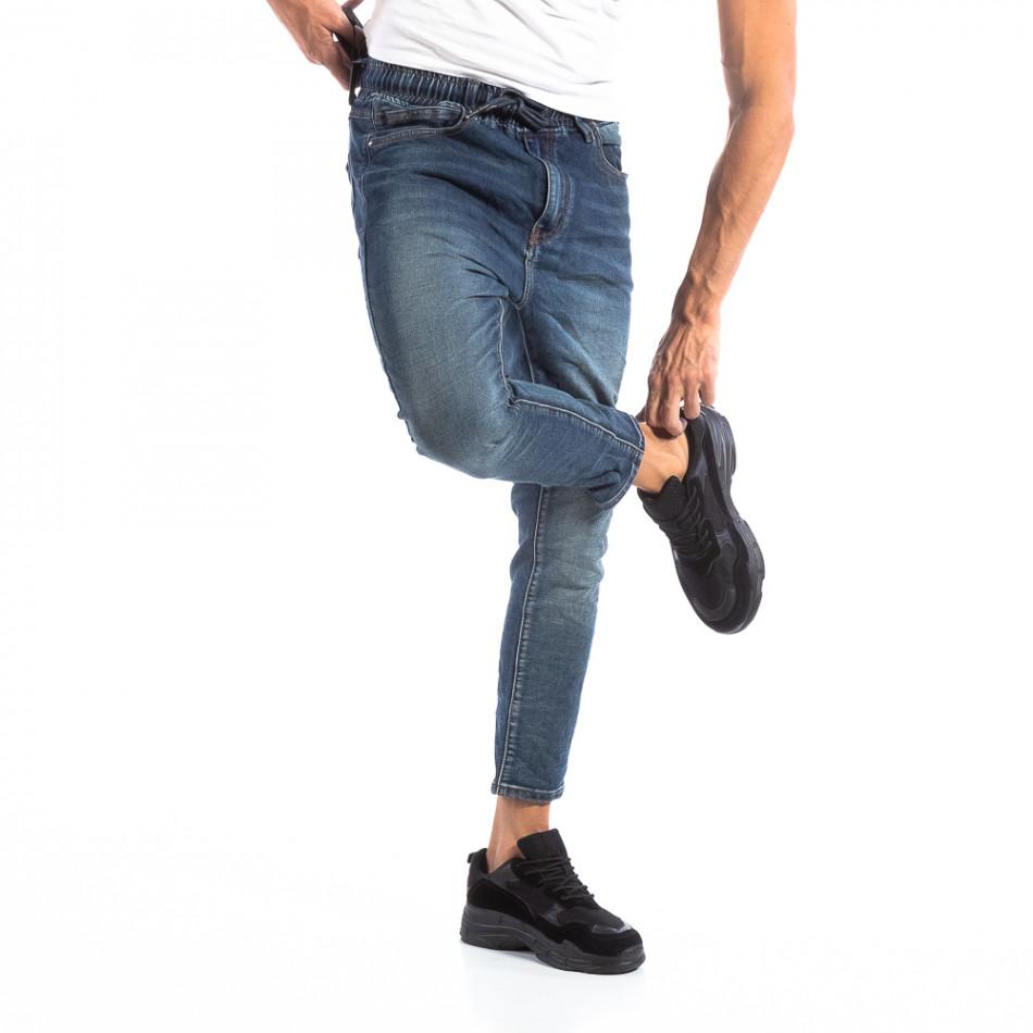 Мъжки сини дънки с ластик на кръста it250918-12
