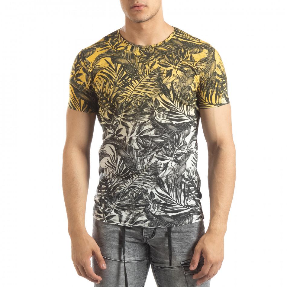Мъжка жълта тениска с преливане Leaves мотив it150419-107
