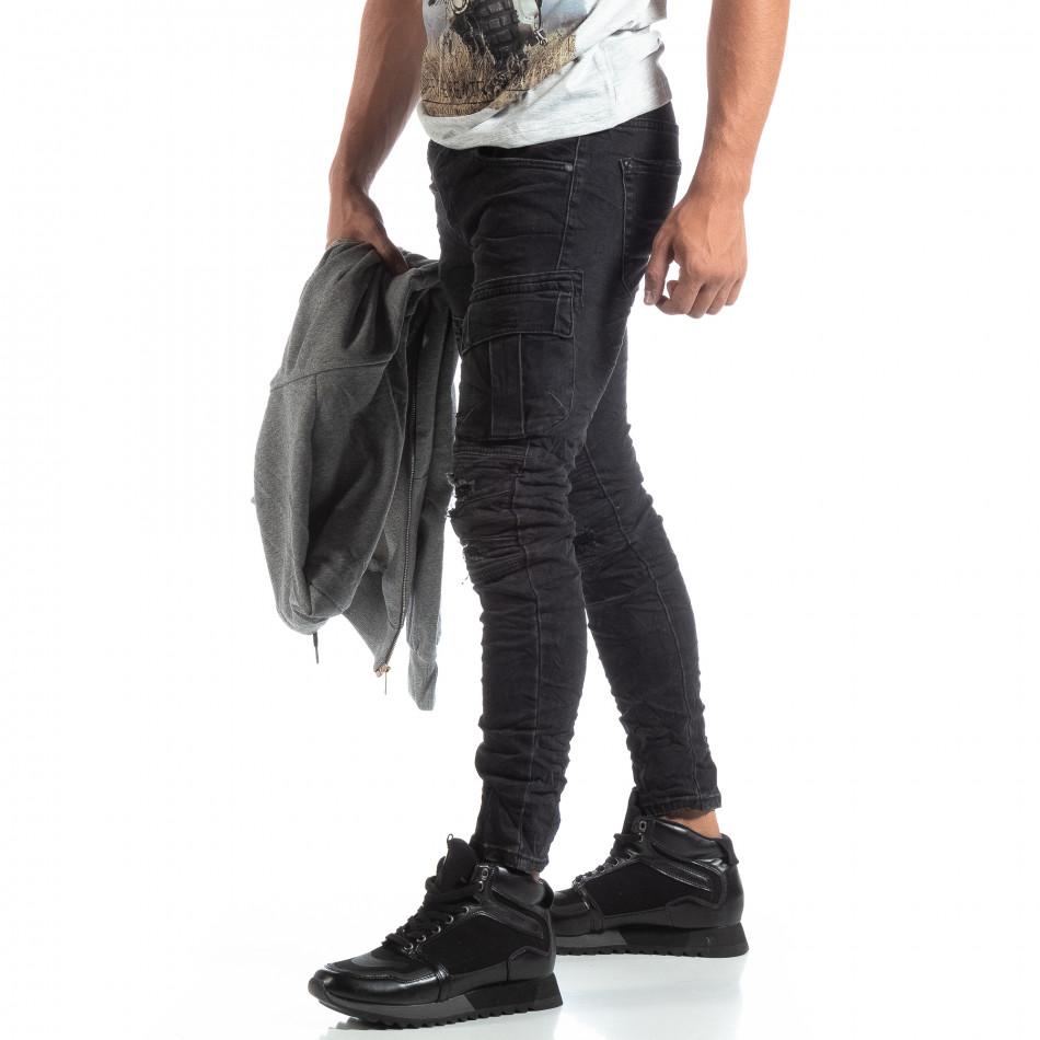 Мъжки черни Cargo Jeans рокерски стил it170819-53