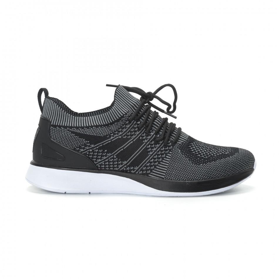 Меки мъжки маратонки плетени в сиво-черно it190219-3