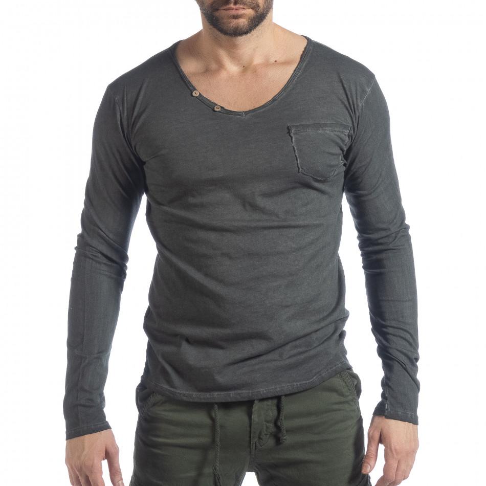 Мъжка блуза Vintage стил в сиво it040219-82
