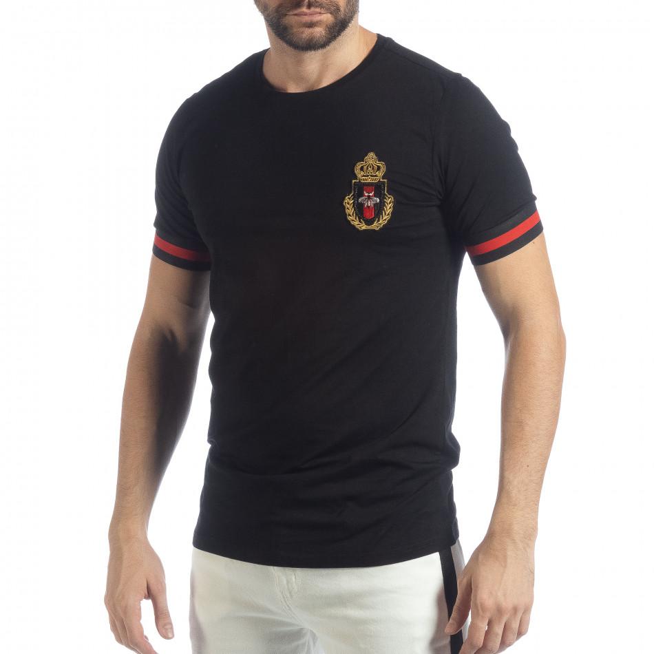 Мъжка черна тениска Heraldic it040219-115