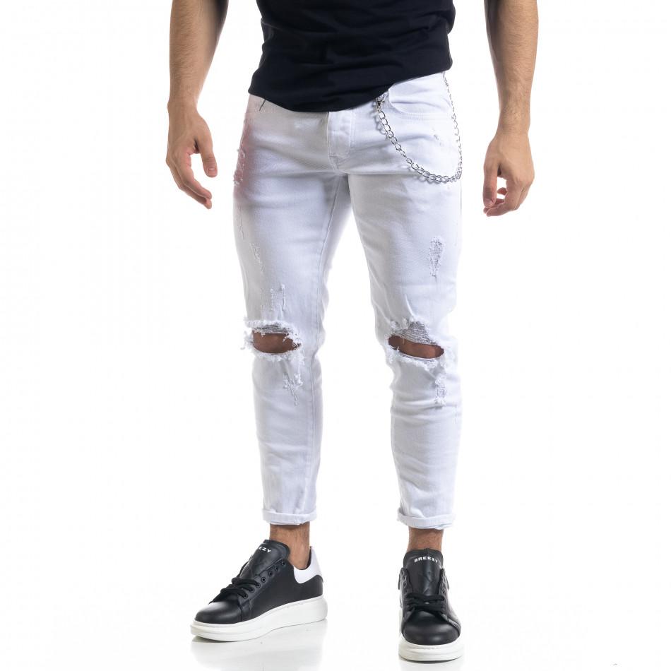 Мъжки бели дънки Destroyed Cropped с аксесоар it110320-8