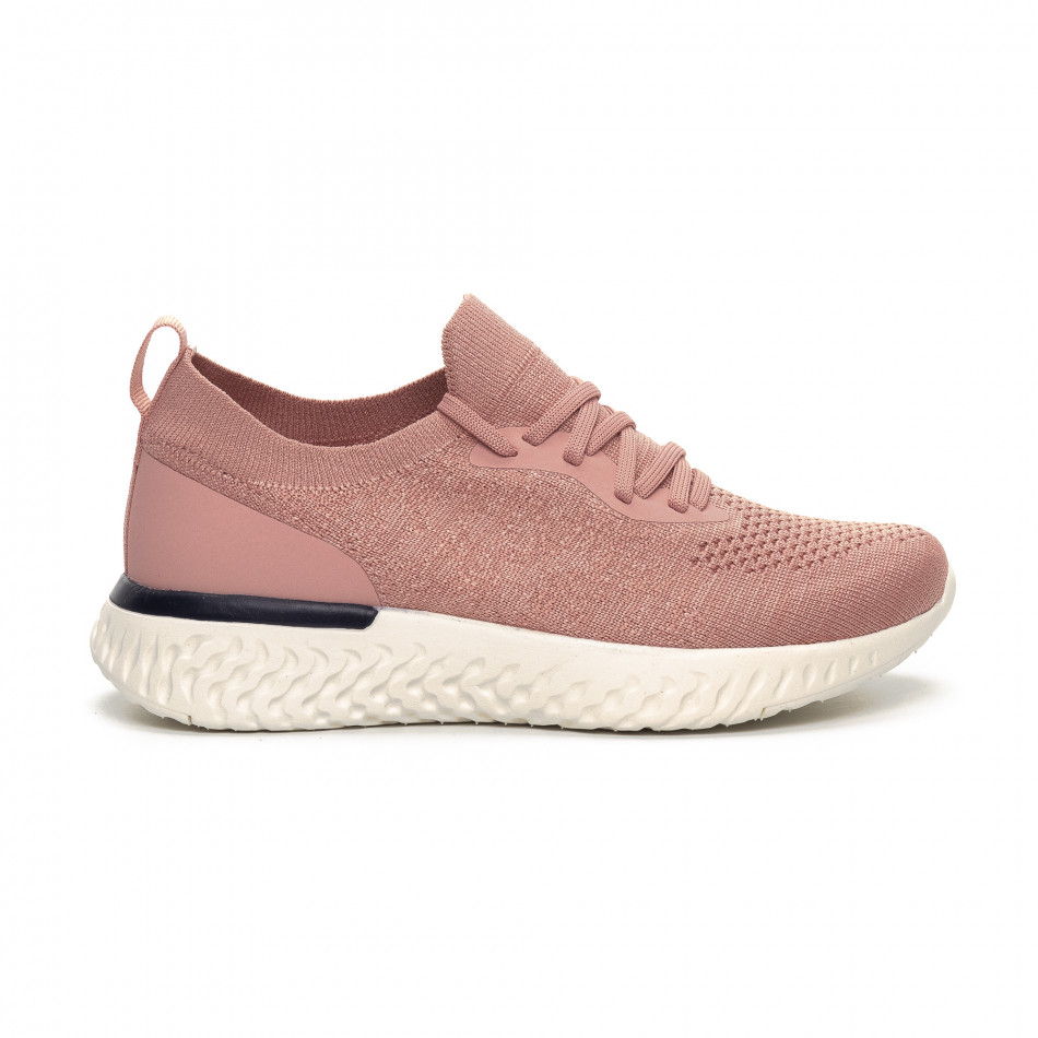 Ултралеки дамски розови маратонки тип чорап it240419-54