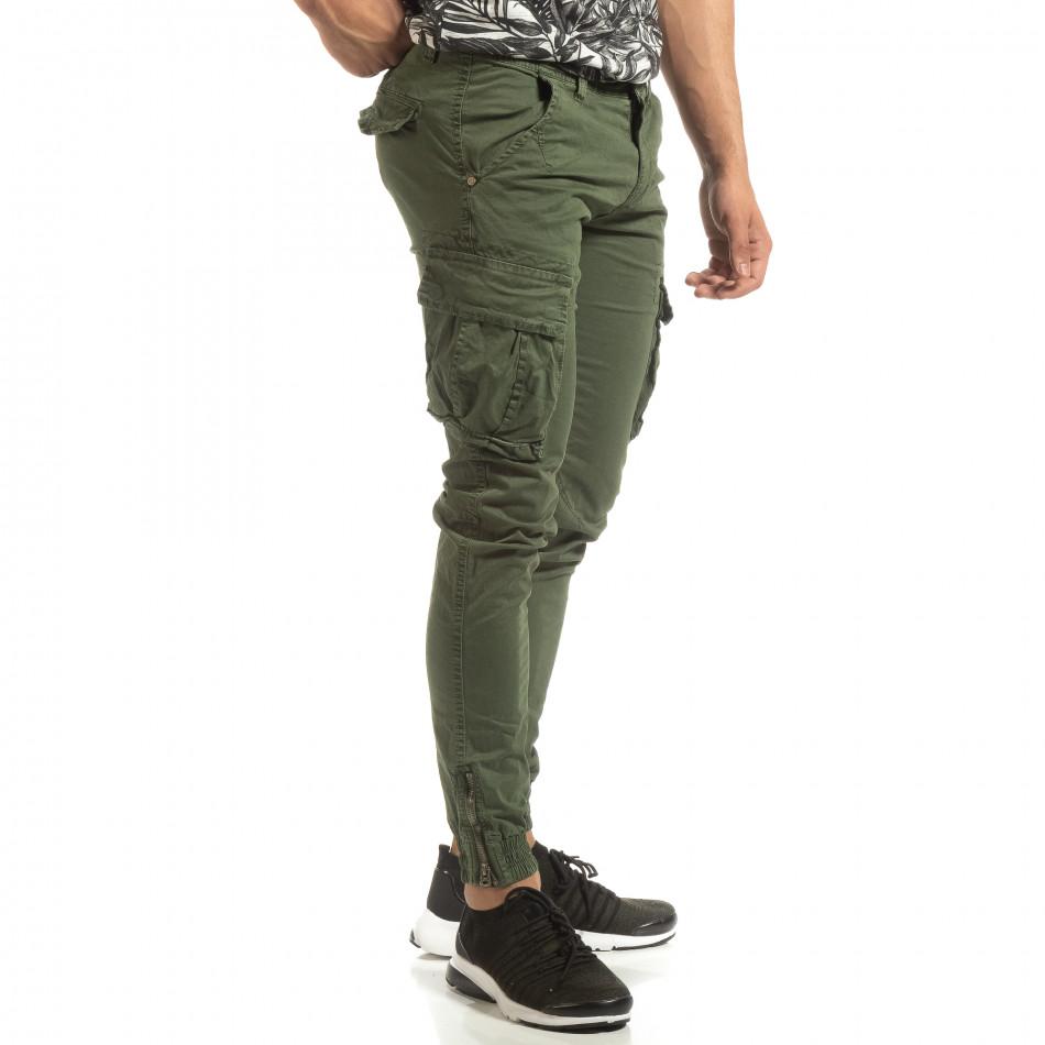 Мъжки зелен карго джогър с ципове на крачолите it090519-11