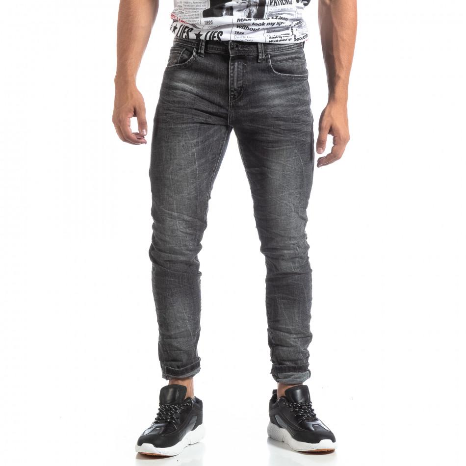 Мъжки намачкани дънки Slim fit в черно it170819-46