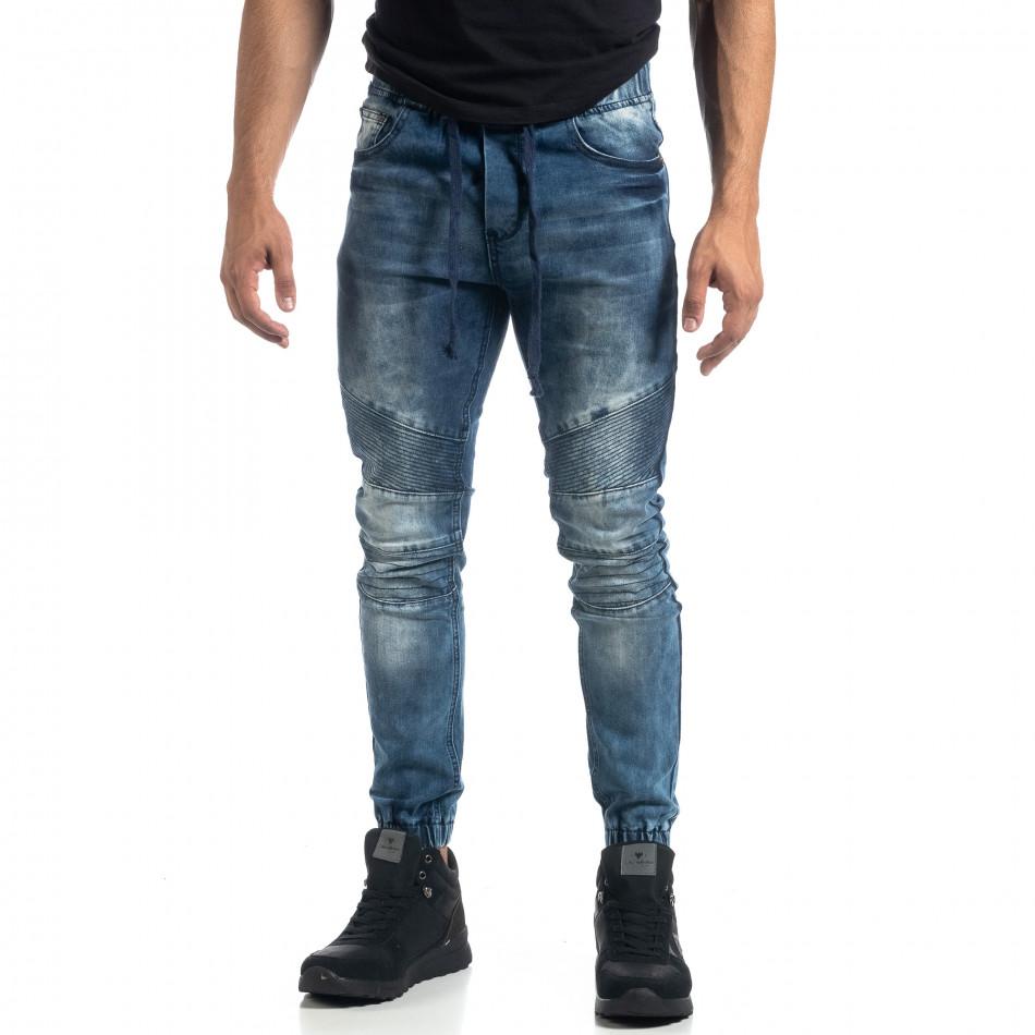 Мъжки сини рокерски дънки Jogger it041019-21
