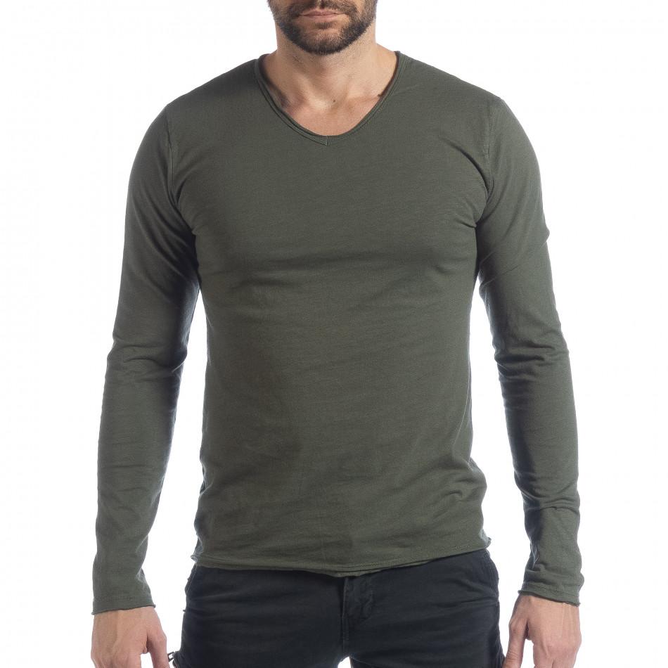 Мъжка блуза V-neck в милитъри зелено it040219-84