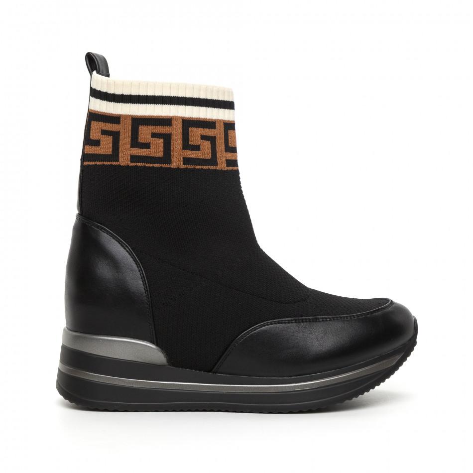 Дамски черни боти чорап с вградена платформа it130819-41