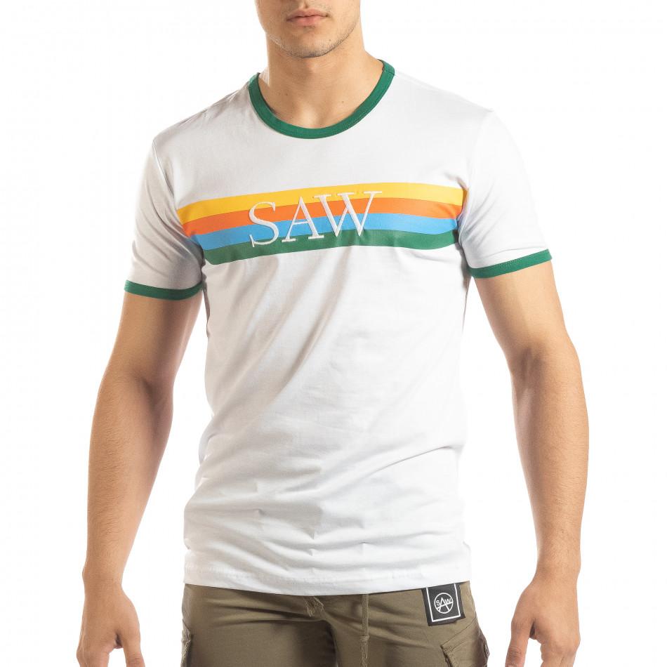 Бяла мъжка тениска зелени биета it150419-59