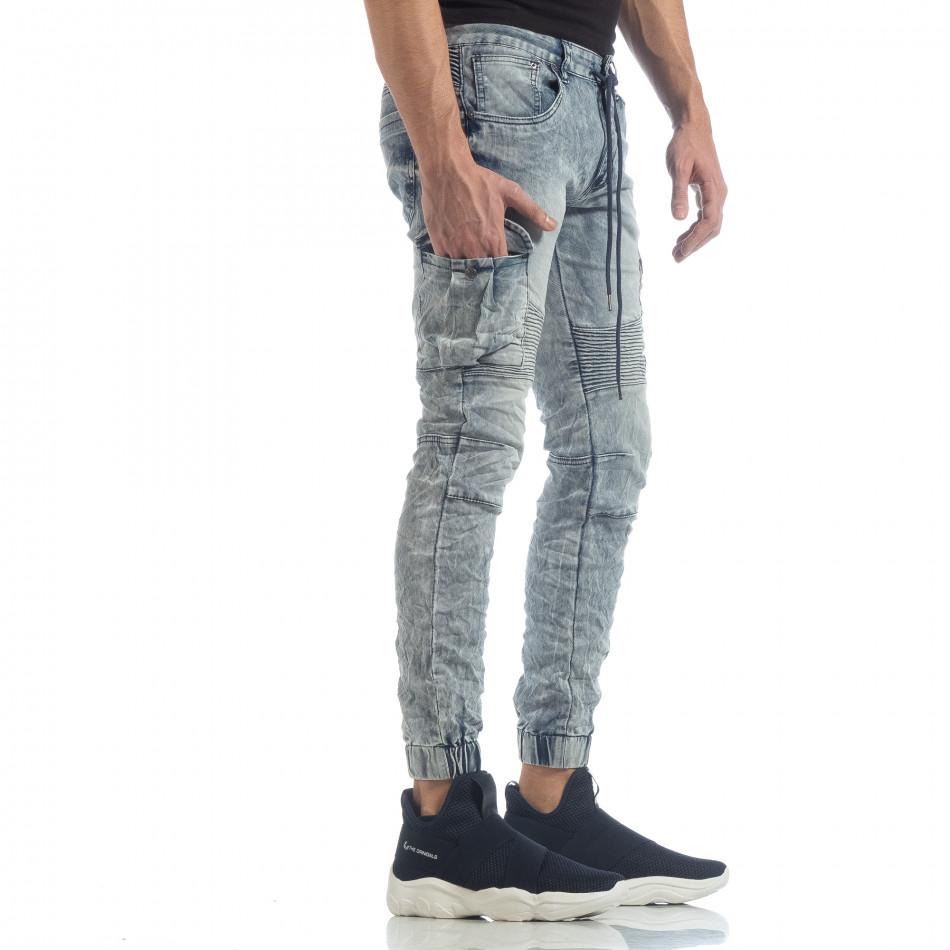 Рокерски мъжки Washed Cargo Jeans it040219-18