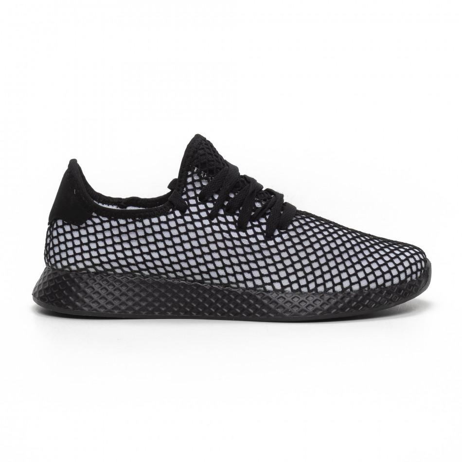 Ултралеки мъжки маратонки Mesh в черно и бяло it240419-5