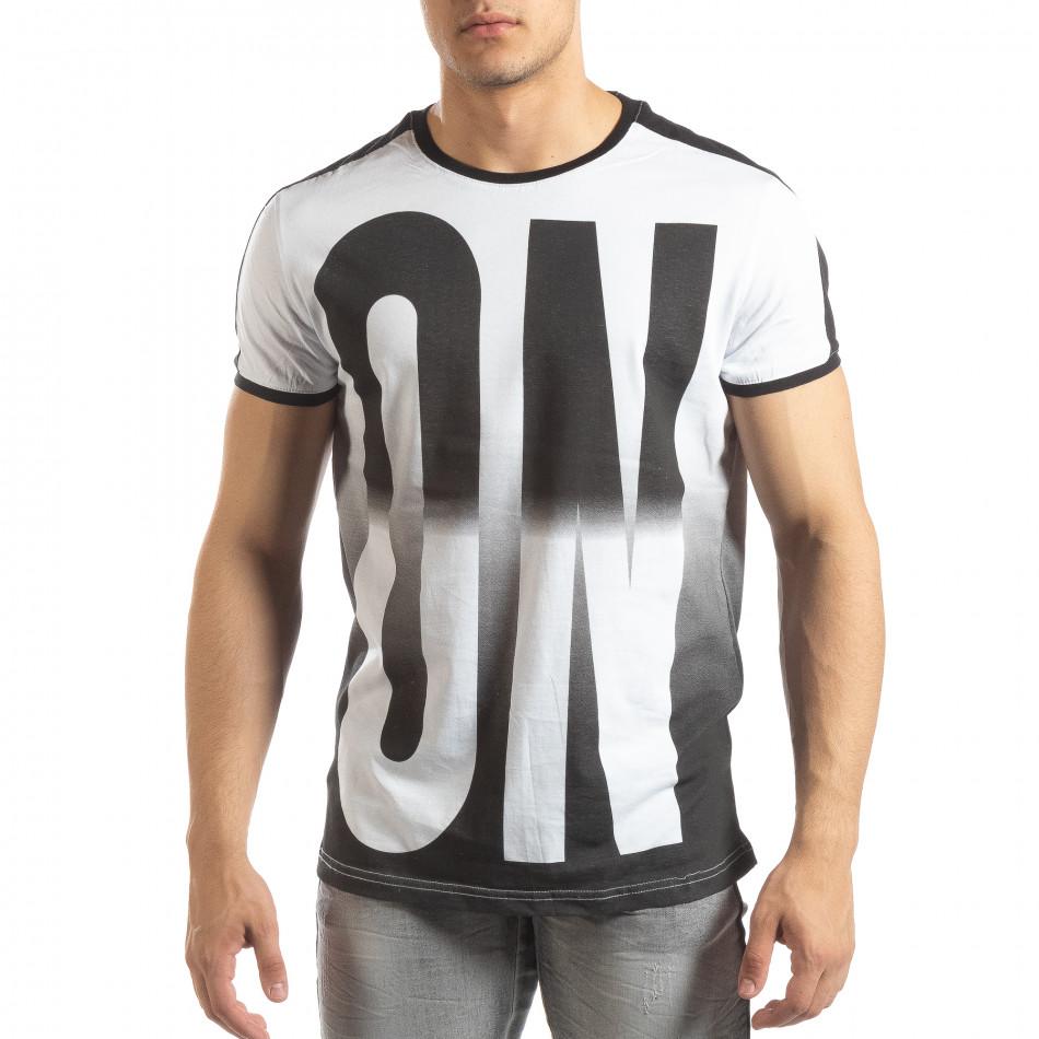 Бяла мъжка тениска ON/OFF с преливане it150419-49