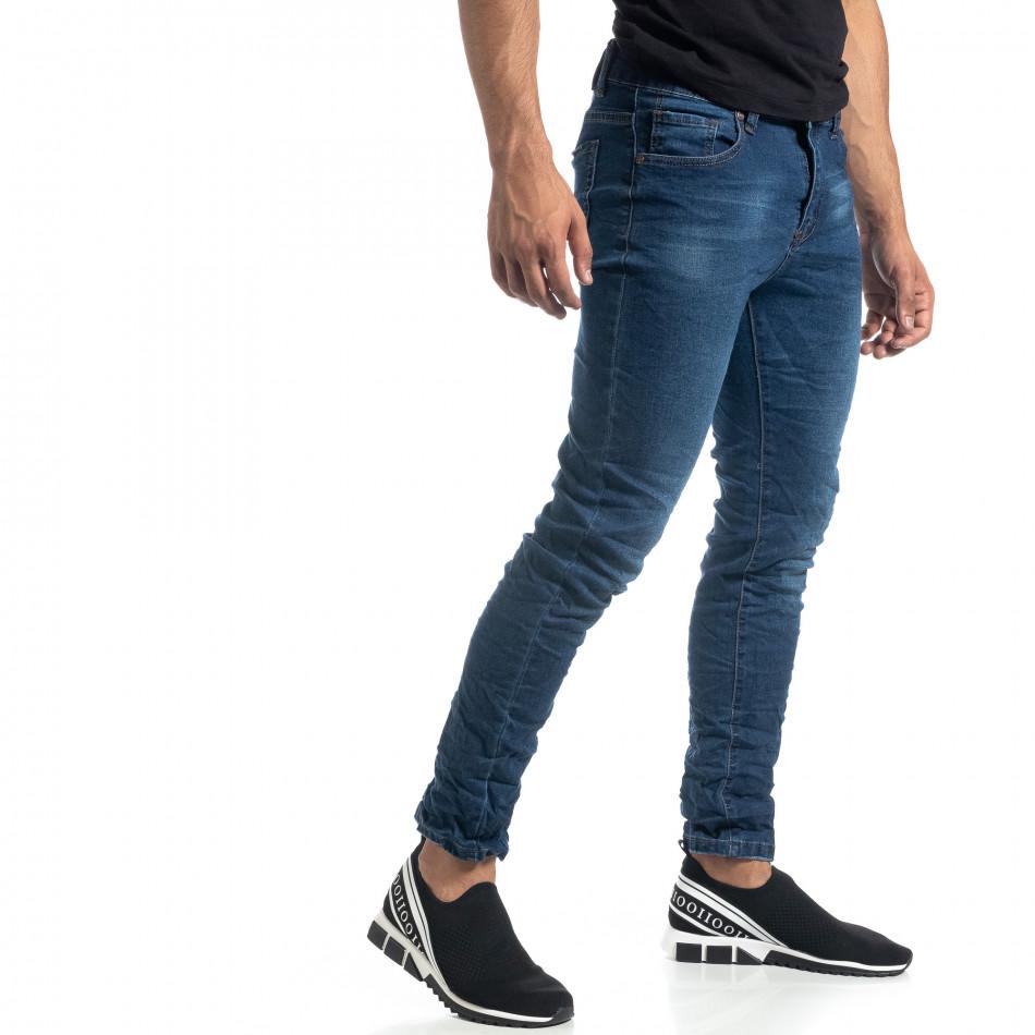 Намачкани сини мъжки дънки Slim fit it041019-20