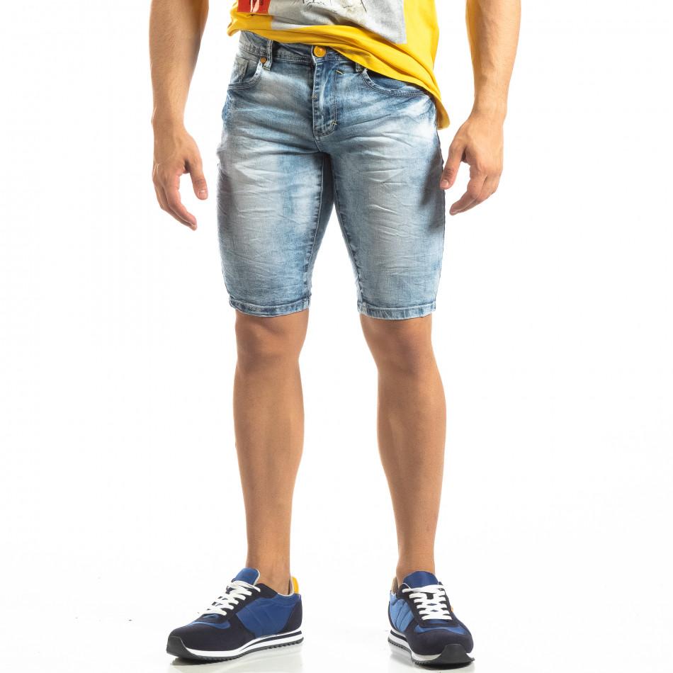 Мъжки намачкани къси дънки с избелял ефект it150419-10