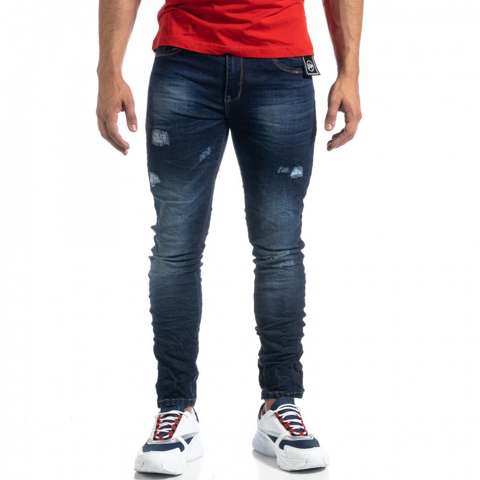 Тъмносини мъжки дънки с прокъсвания Slim fit it041019-36