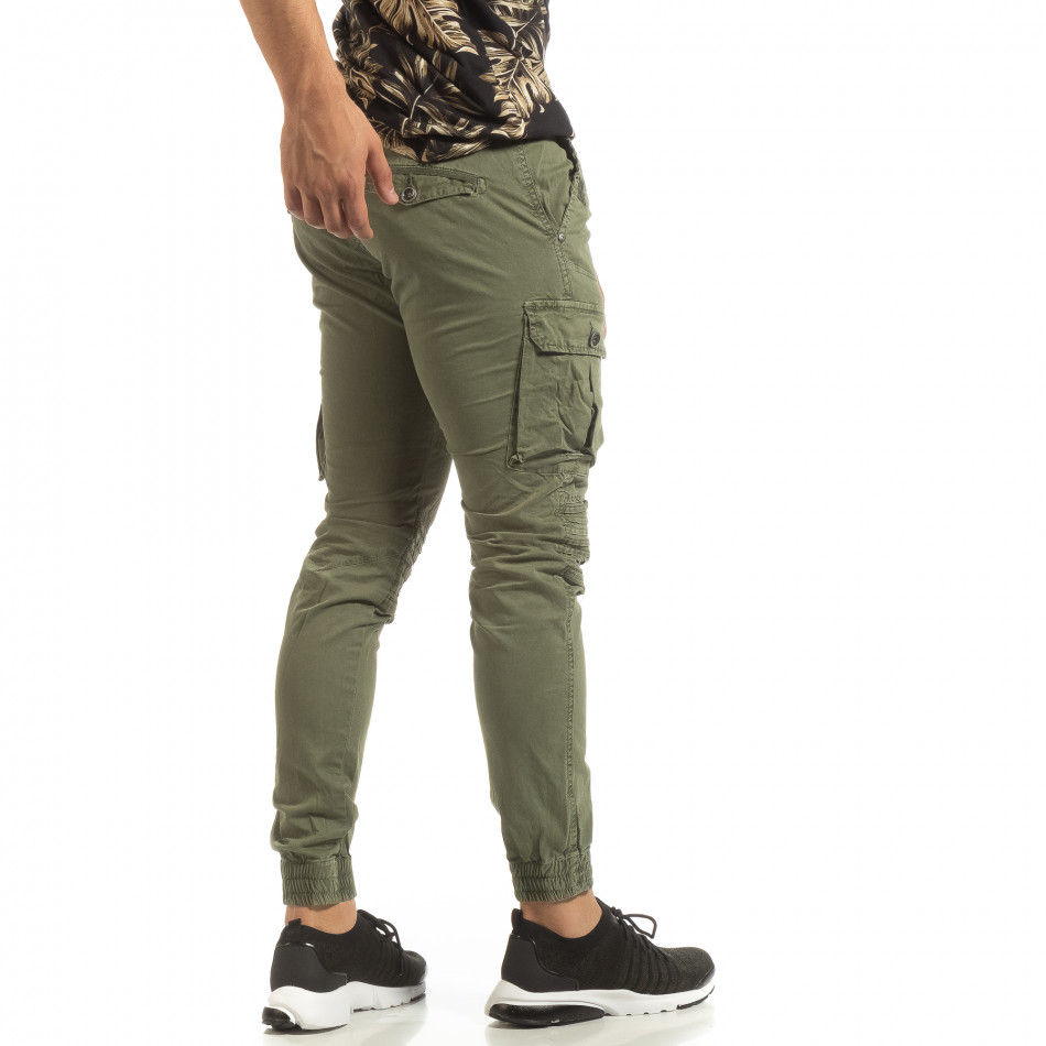 Мъжки зелен Cargo Jogger в рокерски стил it090519-18
