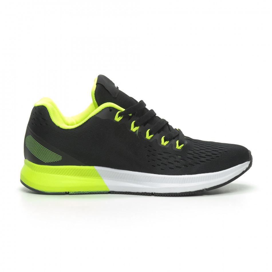 Ултралеки мъжки маратонки черно с неон it100519-2