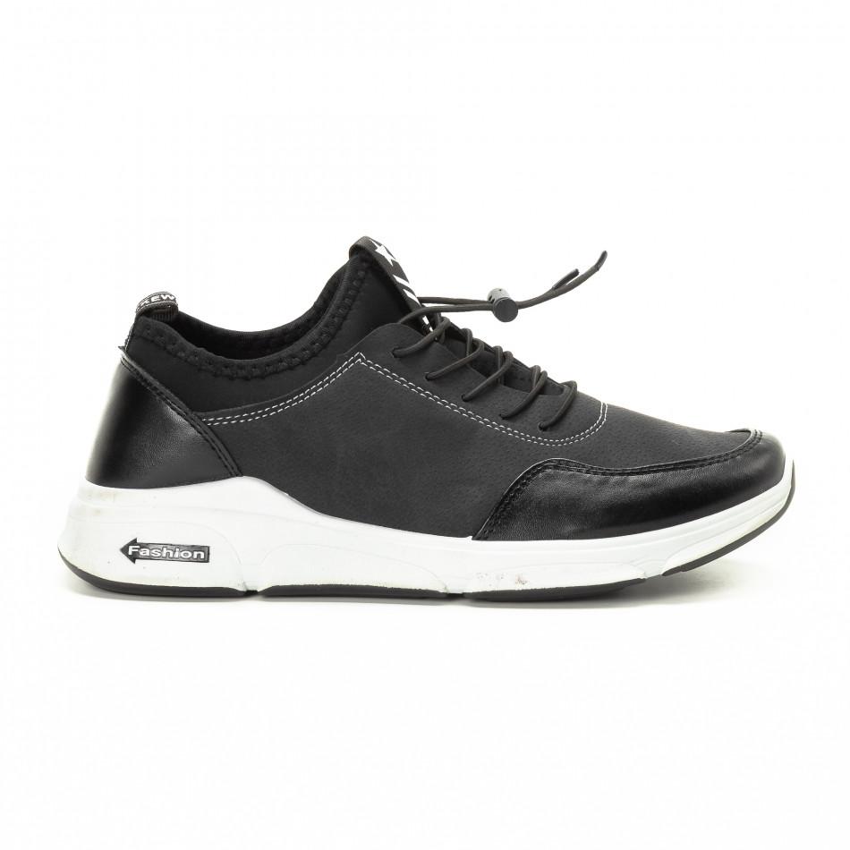 Комбинирани черни мъжки маратонки it221018-34