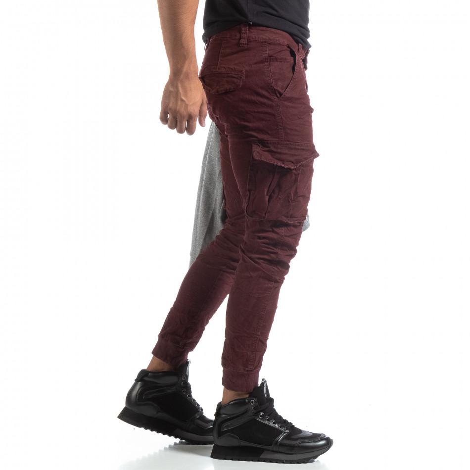 Мъжки намачкан панталон Cargo в бордо it170819-16