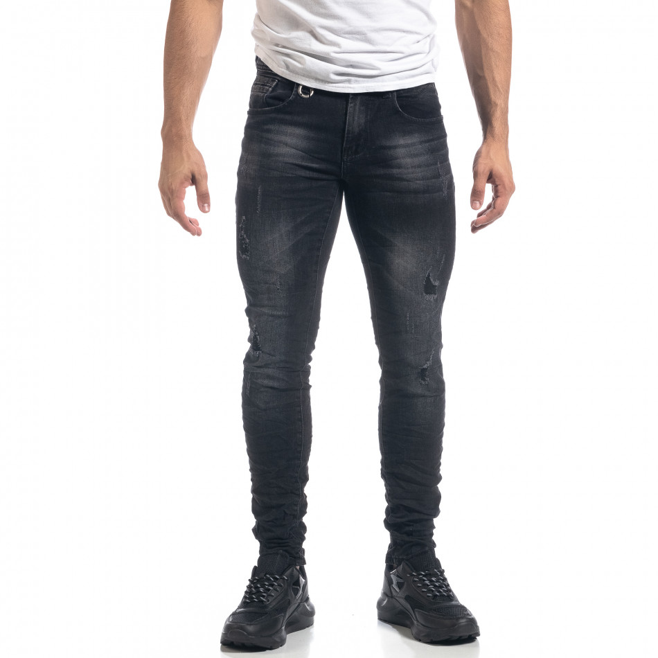 Черни мъжки Slim fit дънки с прокъсвания it071119-10