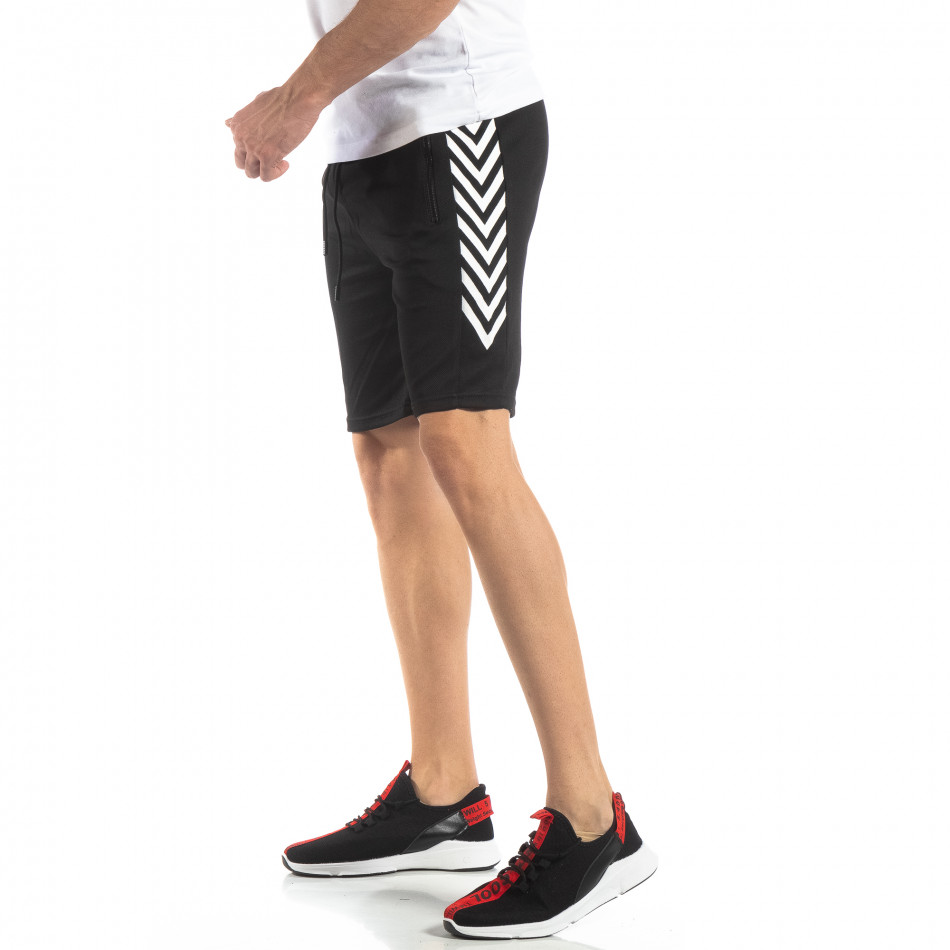 Черни мъжки шорти с ивици it210319-60
