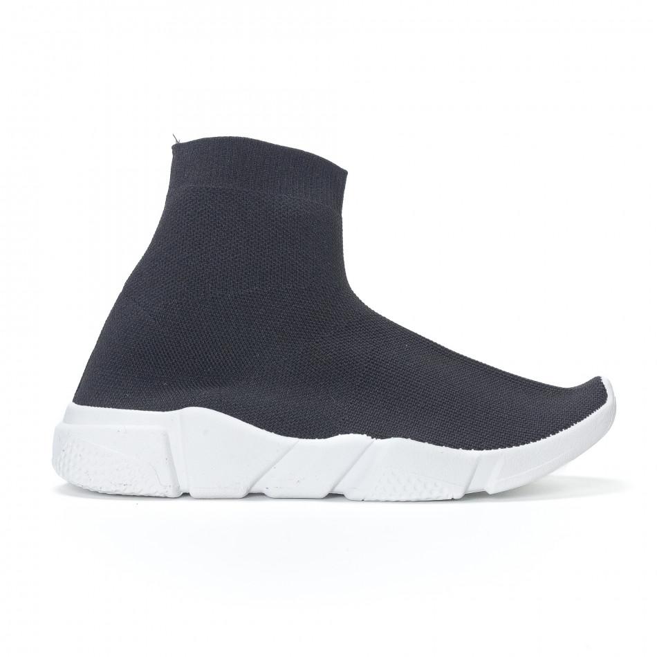 Дамски черни маратонки slip-on тип чорап it130819-52