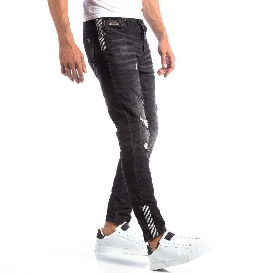Черни мъжки дънки със състарен ефект it260918-3