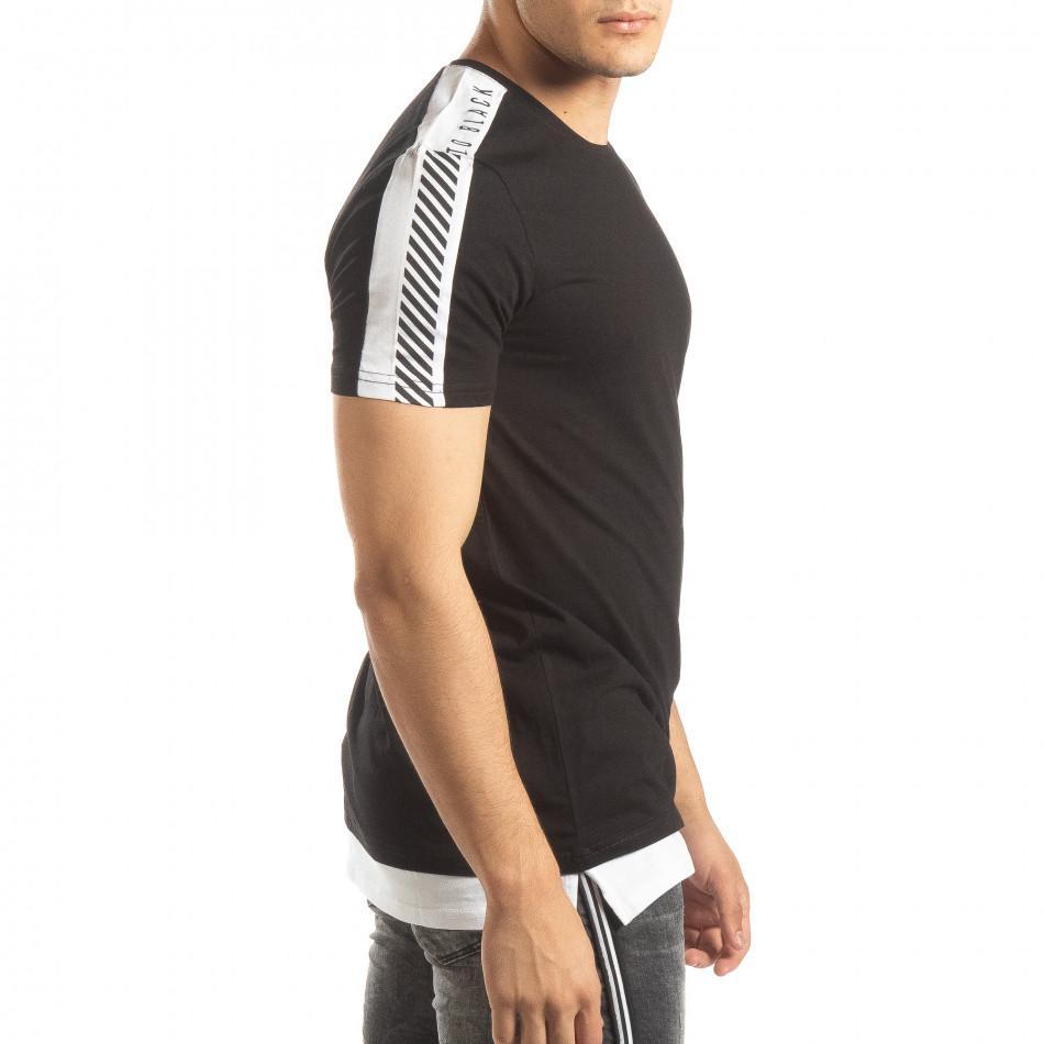 Черна мъжка тениска с бяло удължение it150419-83