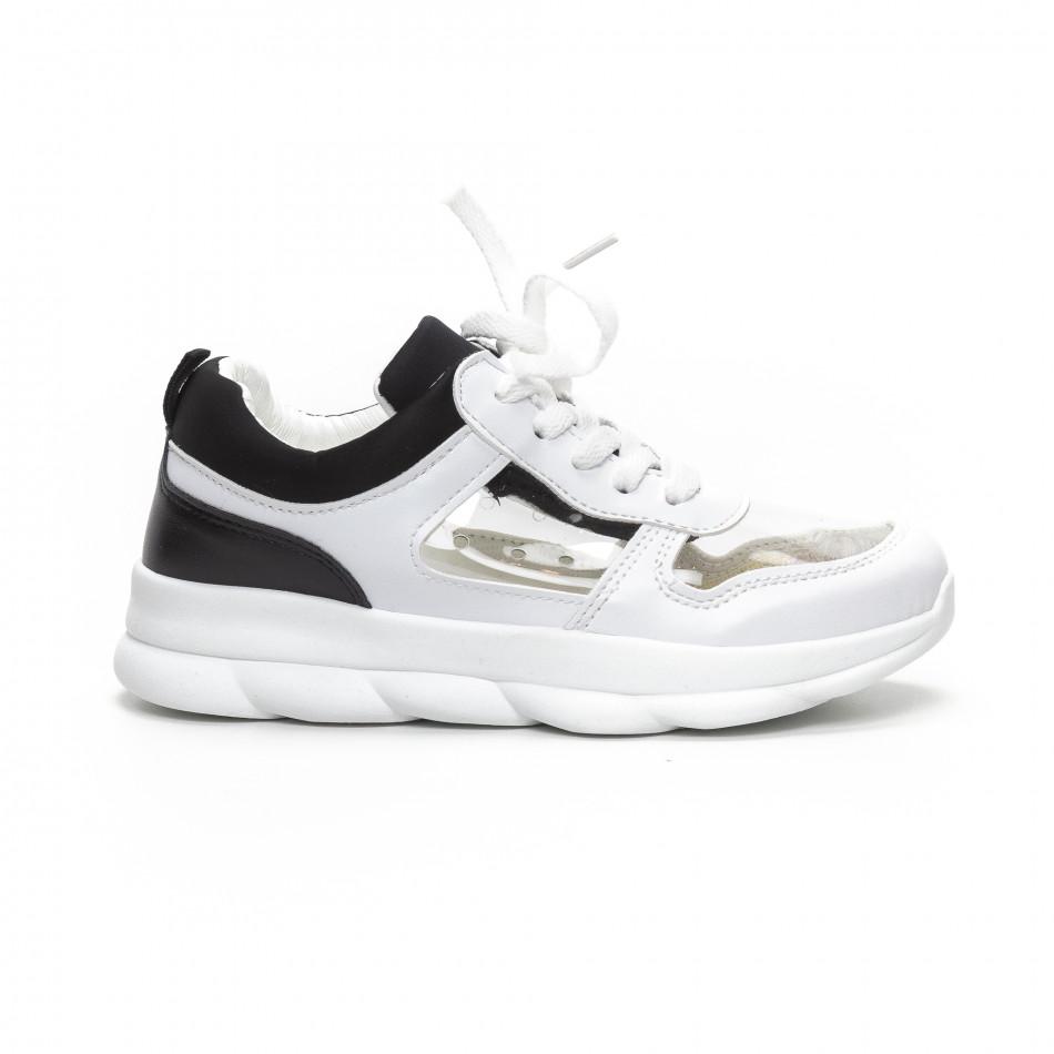 Дамски маратонки с прозрачни части в бяло и черно it240419-56