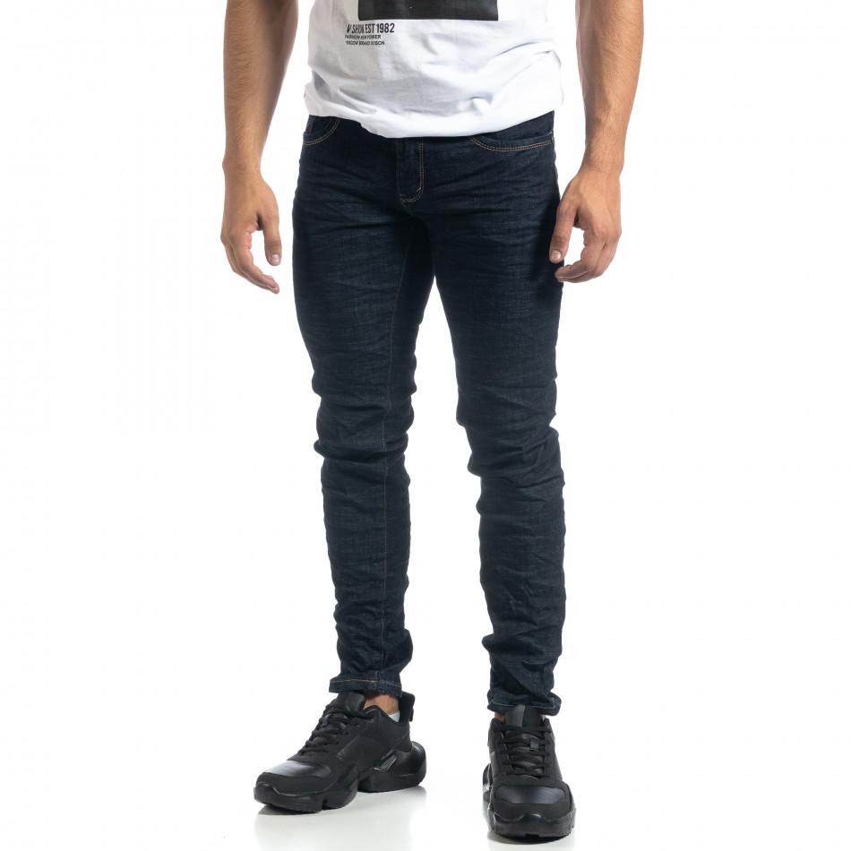Тъмносини мъжки намачкани дънки Slim fit it041019-32