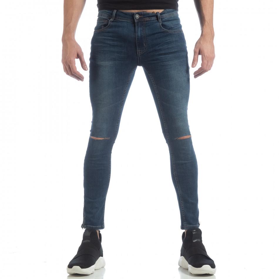 Skinny мъжки сини дънки с ципове it040219-6
