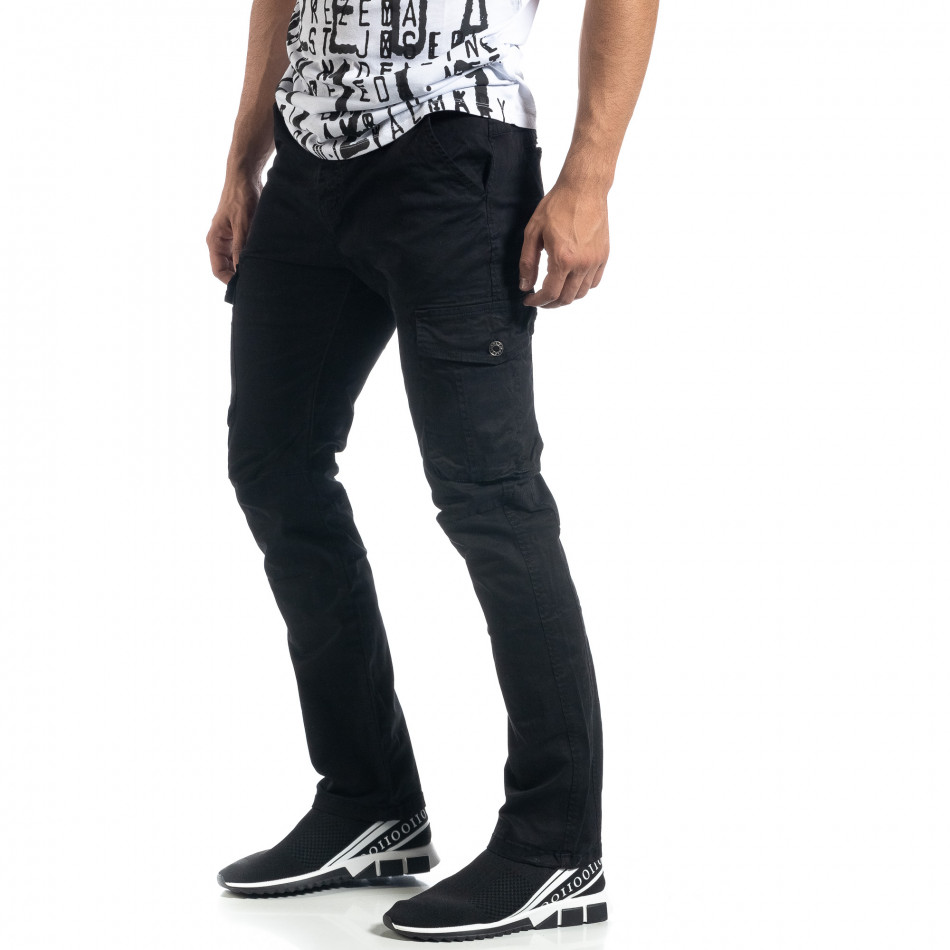 Мъжки черен карго панталон с прави крачоли it041019-44