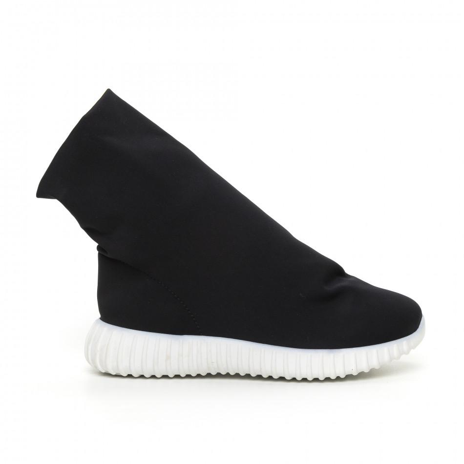 Дамски черни боти от неопрен тип чорап it130819-53