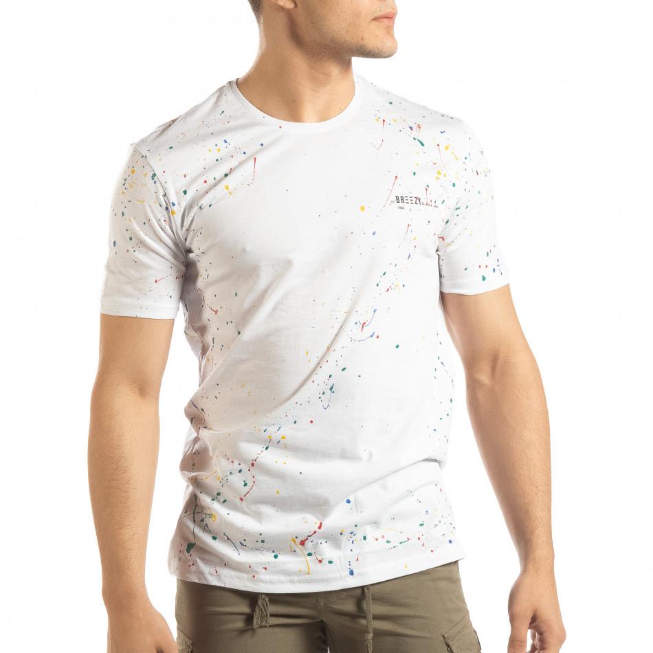 Бяла мъжка тениска с пръски боя it150419-88