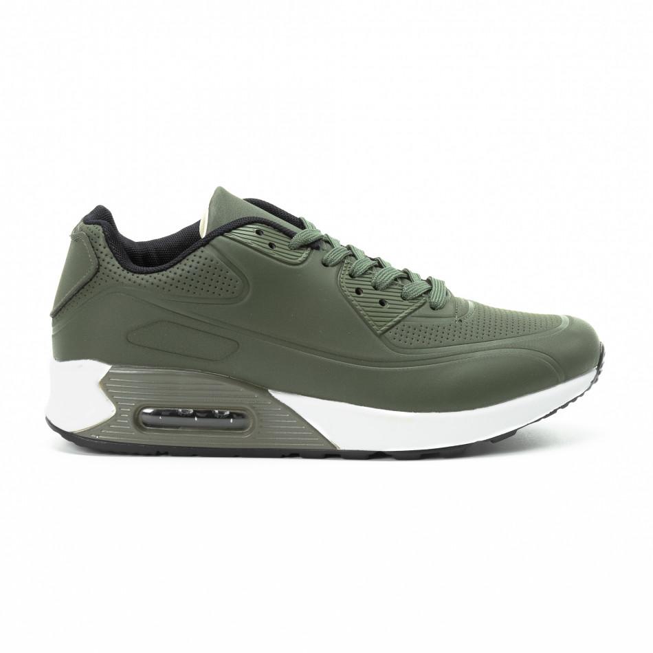 Зелени мъжки маратонки с въздушна камера и перфорации it140918-3