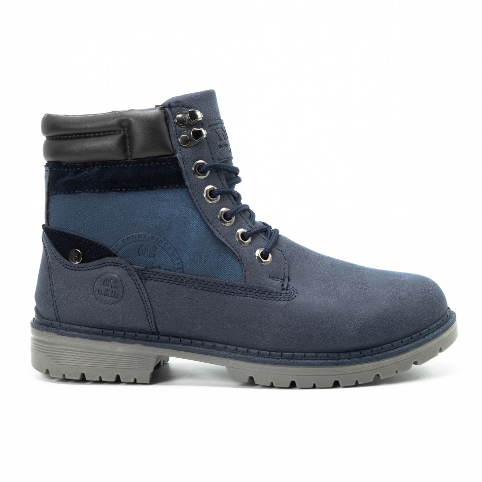 Мъжки сини боти с релефно лого it140918-26
