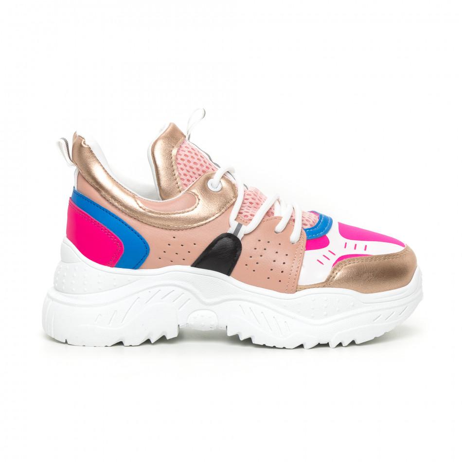 Chunky дамски маратонки в розово и синьо it130819-65