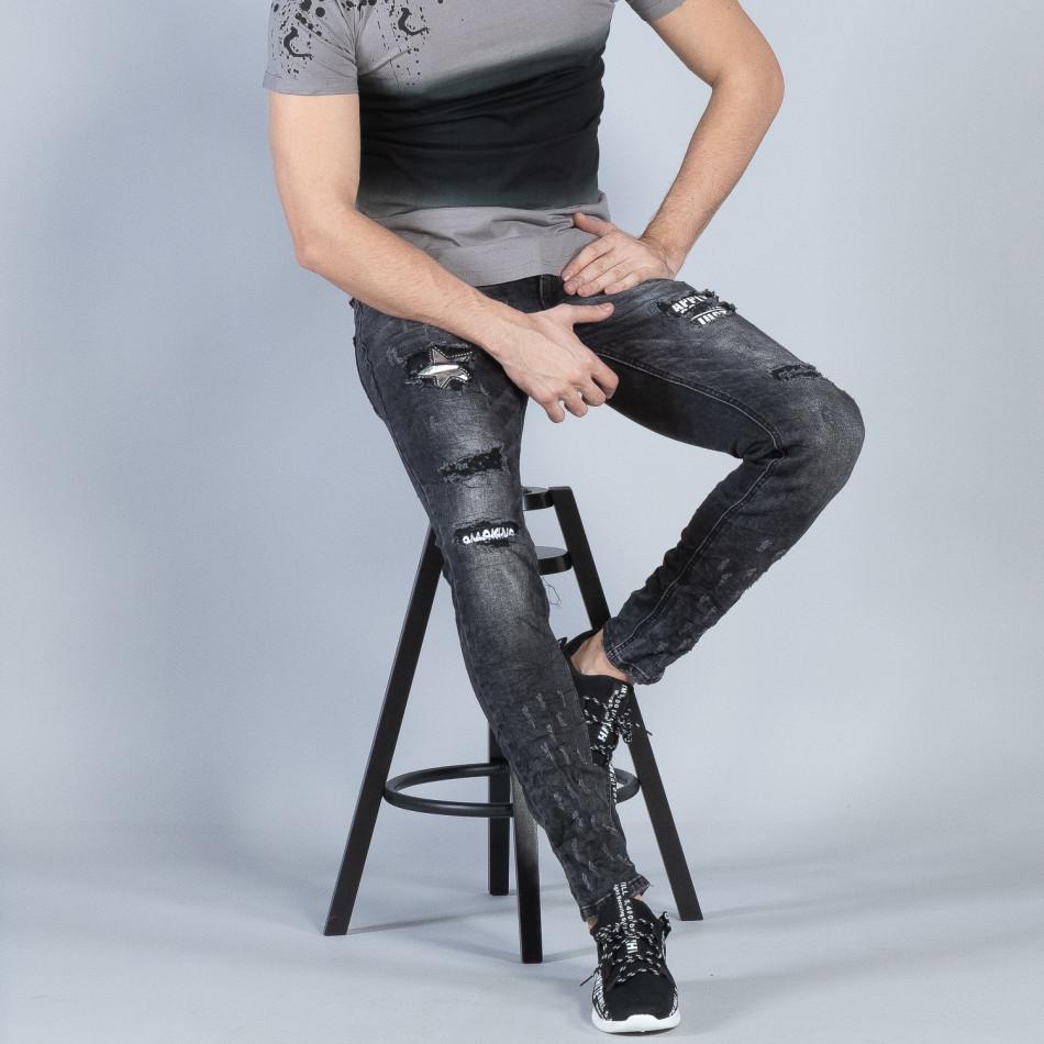 Сиви мъжки дънки с акцентни кръпки it040219-23